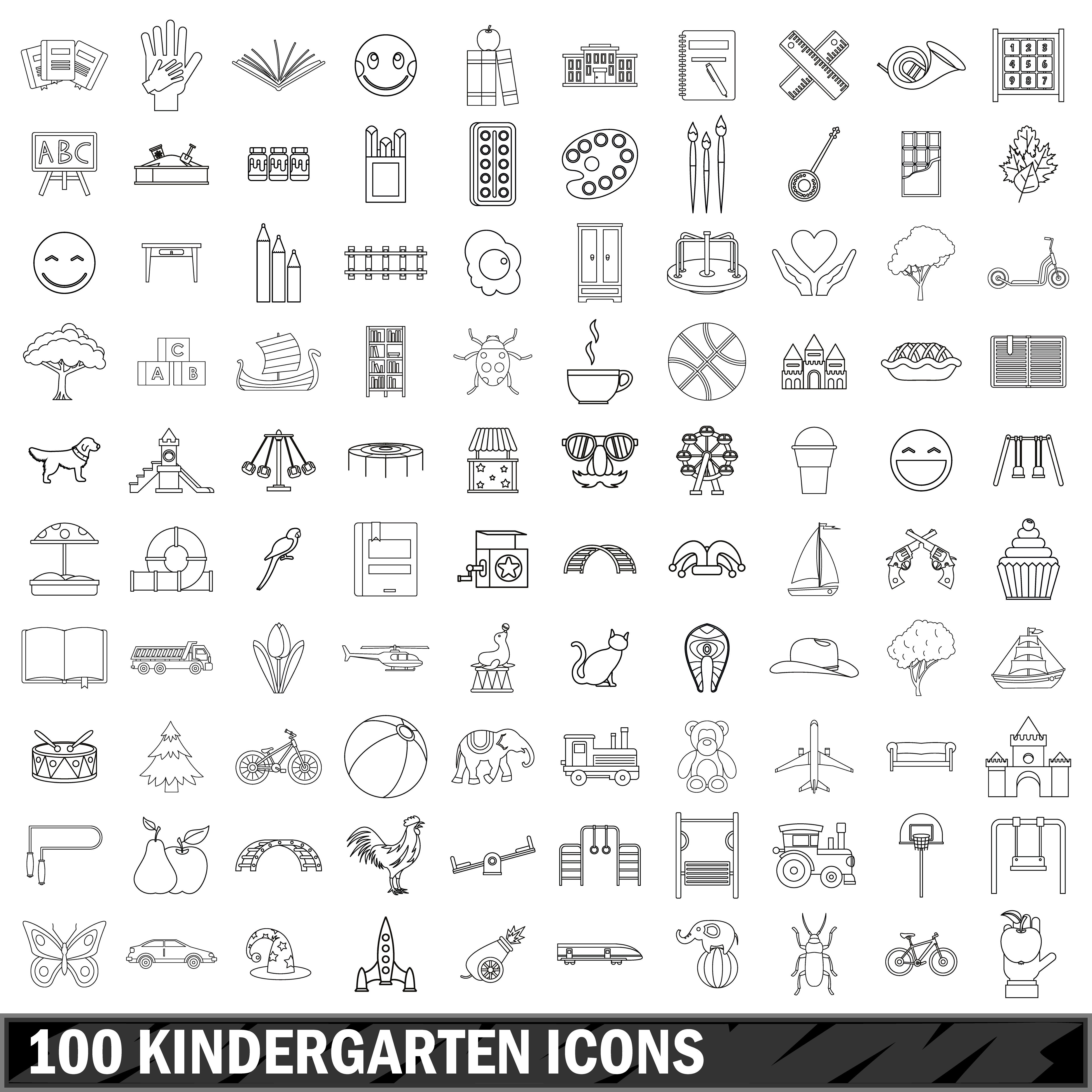 100 kindergarten icons set, outline style By Ylivdesign