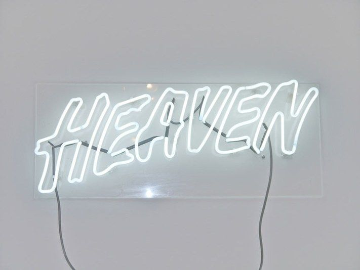Interior Inspiration All White Neon Sign That Reads Heaven Wall Art White Color Story Bright Whites Neon Signs White Aesthetic Neon Lighting