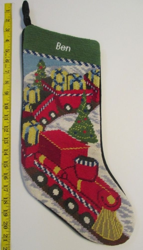 Lands End Christmas Stockings.Details About Lands End Toy Train Needlepoint Christmas
