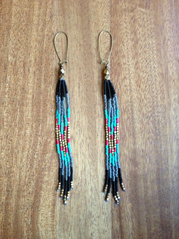 Long Beaded Fringe Seed Bead Earrings Should By Wanderlustsoulart