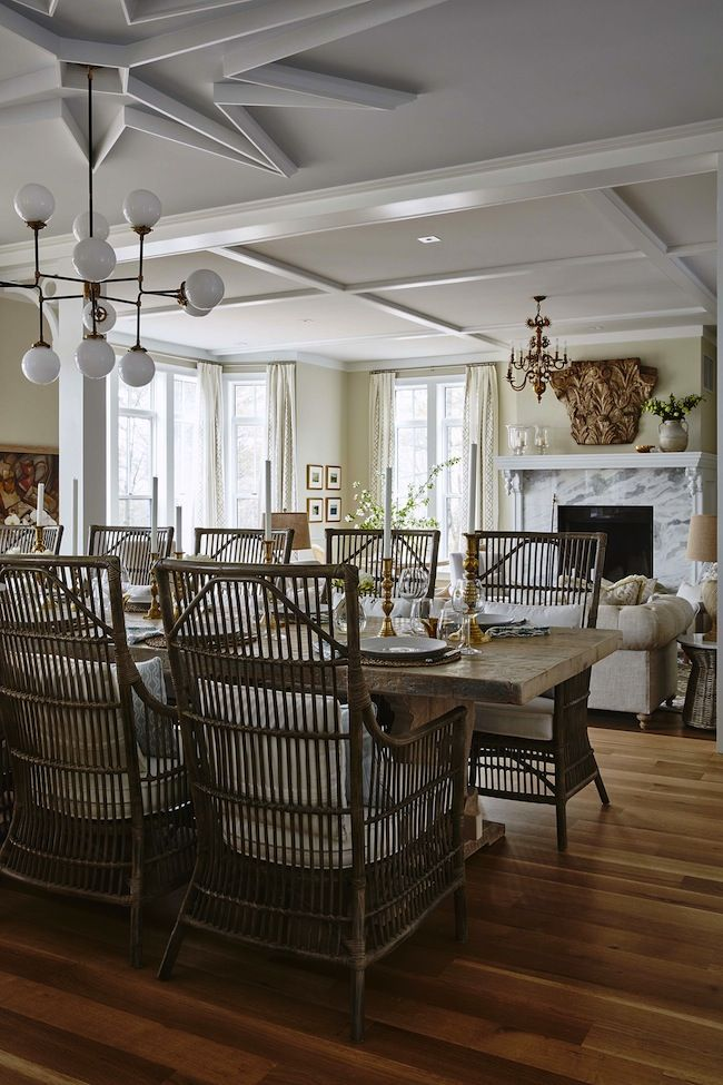 traditional open concept dining and living room