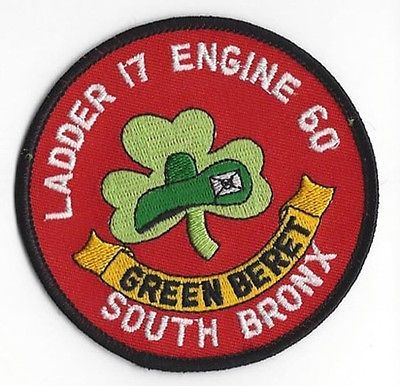 NY New York Fire Dept Engine 60 Ladder 17 FDNY patch GREEN