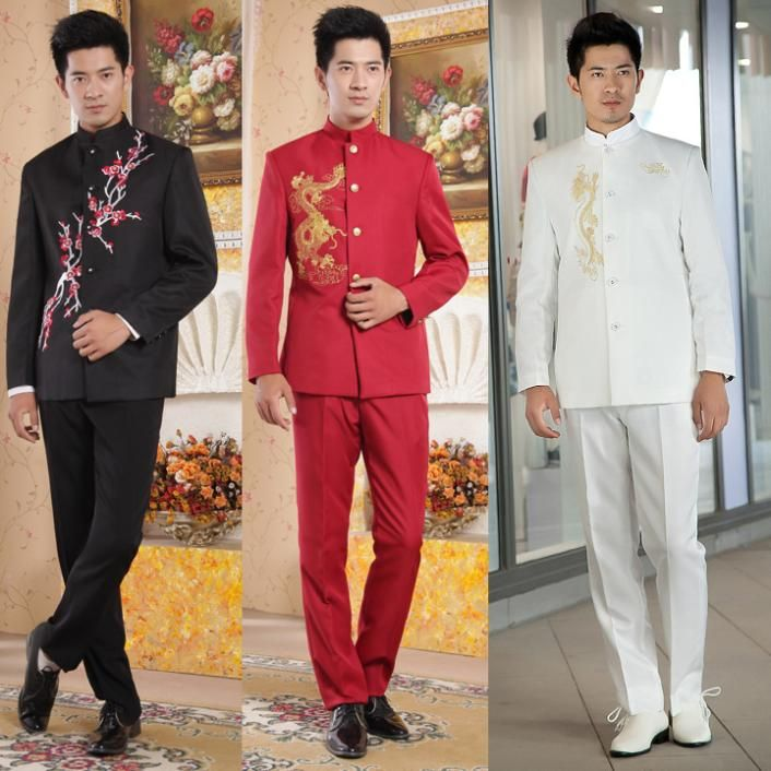 Chinese Tunic Suit National Clothes Wedding Men Mens Suits Clothing Sets Costume Plus Size