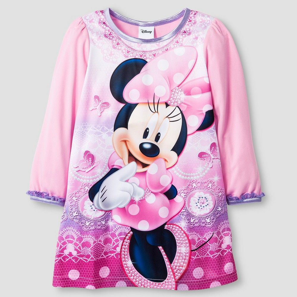 8384daa1e1 Toddler Girls  Disney Minnie Mouse Long Sleeve Nightgown Pink 4T ...