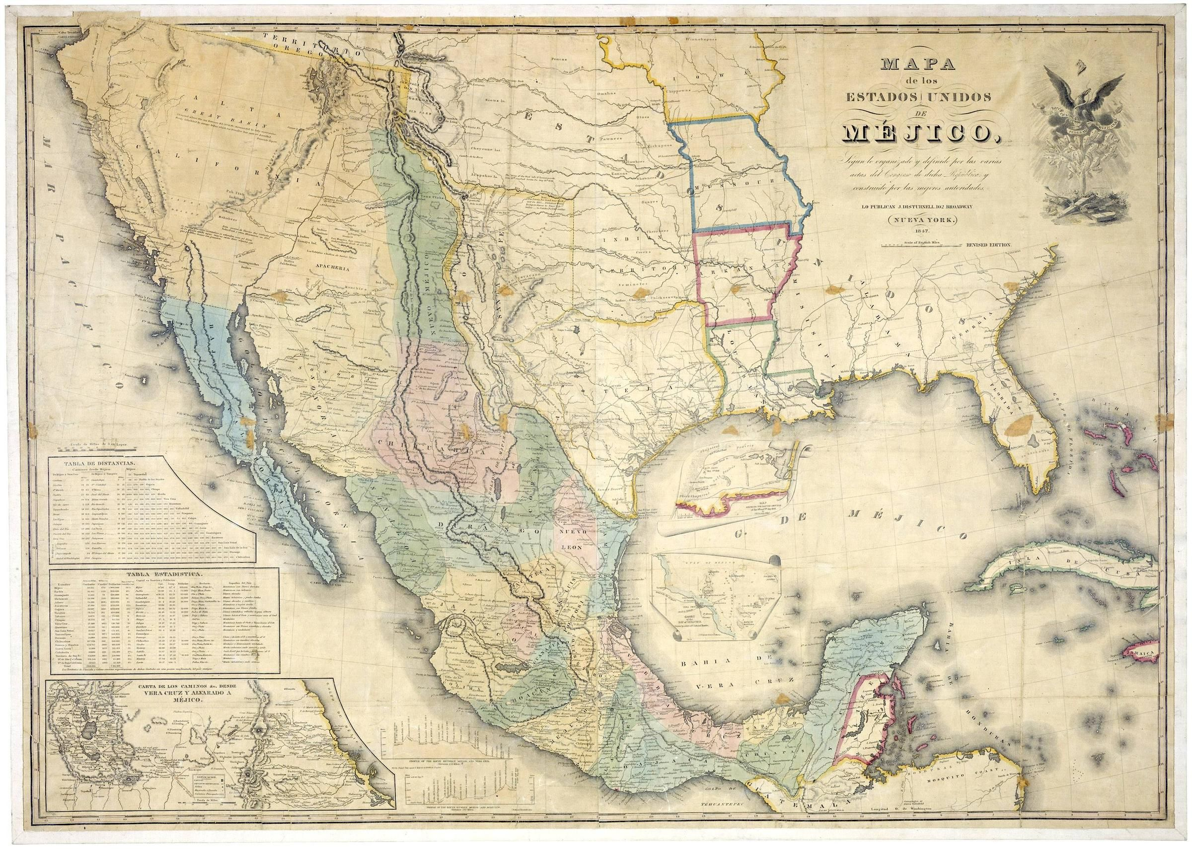 Map Of The United States Of Mexico In 1847 Mexico Map Mapporn
