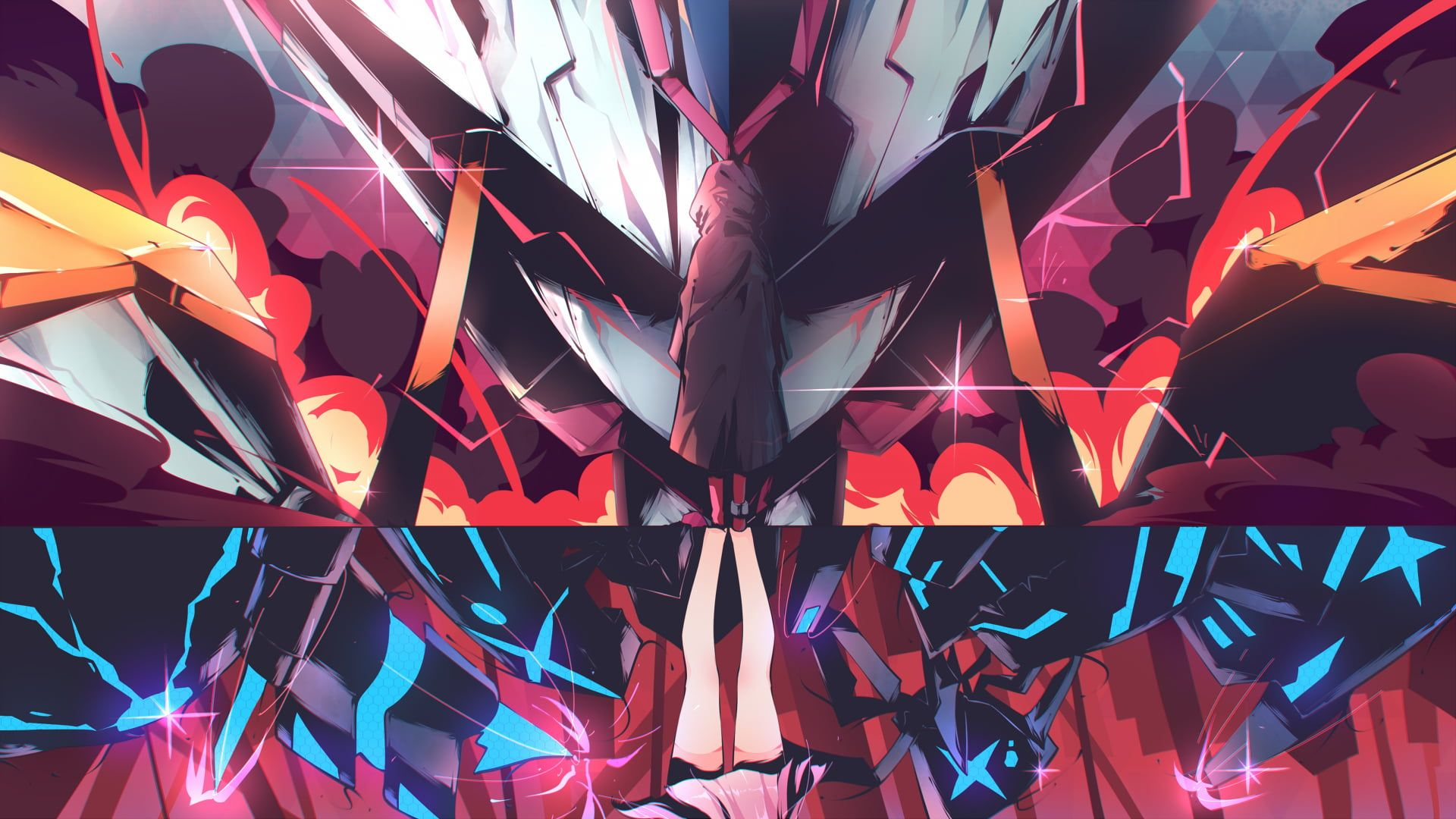 Red White And Orange Abstract Digital Wallpaper Anime Anime Girls Zero Two Zero Two Darling In The Darling In The Franxx Digital Wallpaper Live Wallpapers