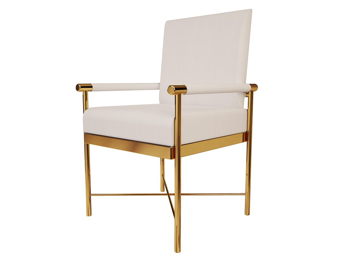 contemporary dining chair made of polished brass tubes and rh pinterest com