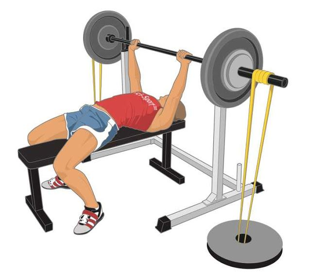 Barbell Bench Press With Resistance Bands Bench Press Bench Press Program Chest Workouts
