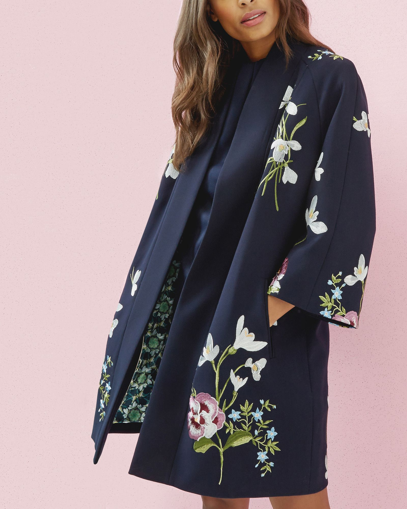 3872cb75e3be6f Spring Meadows kimono jacket - Dark Blue