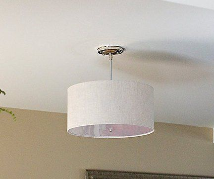 semi flush drum shade fixture ceiling light large linen shade 16 by rh pinterest com