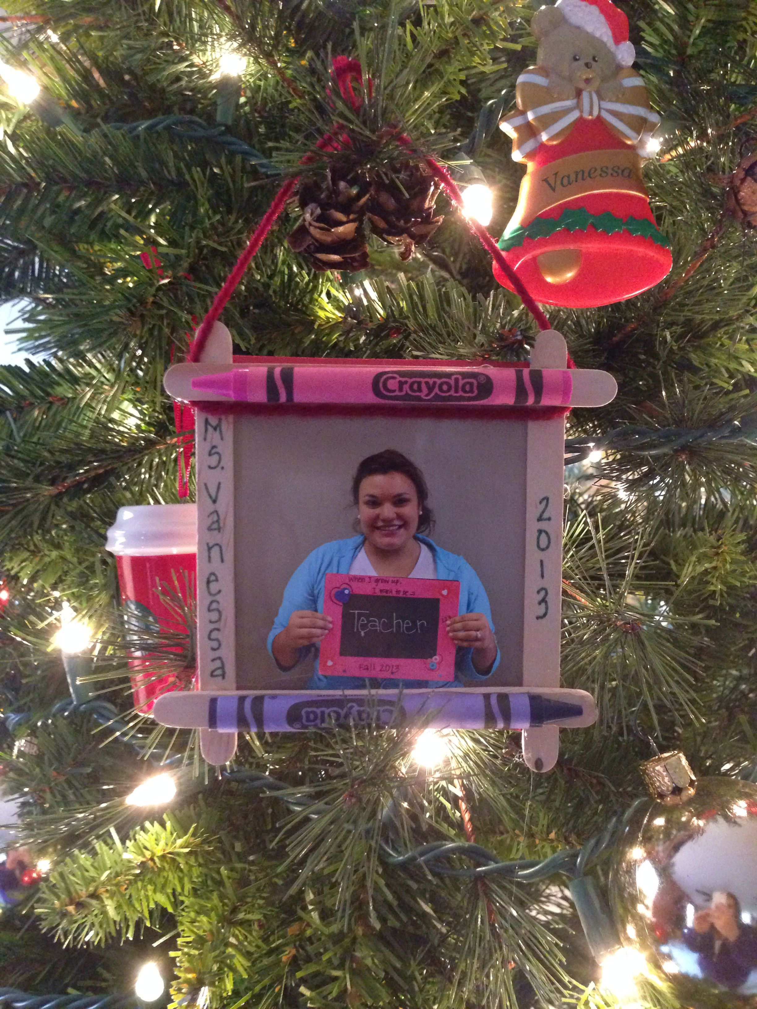 Christmas tree picture frame ornaments - Popsicle Stick Crayon Picture Frame Ornament I Made There With My 3 Years Olds