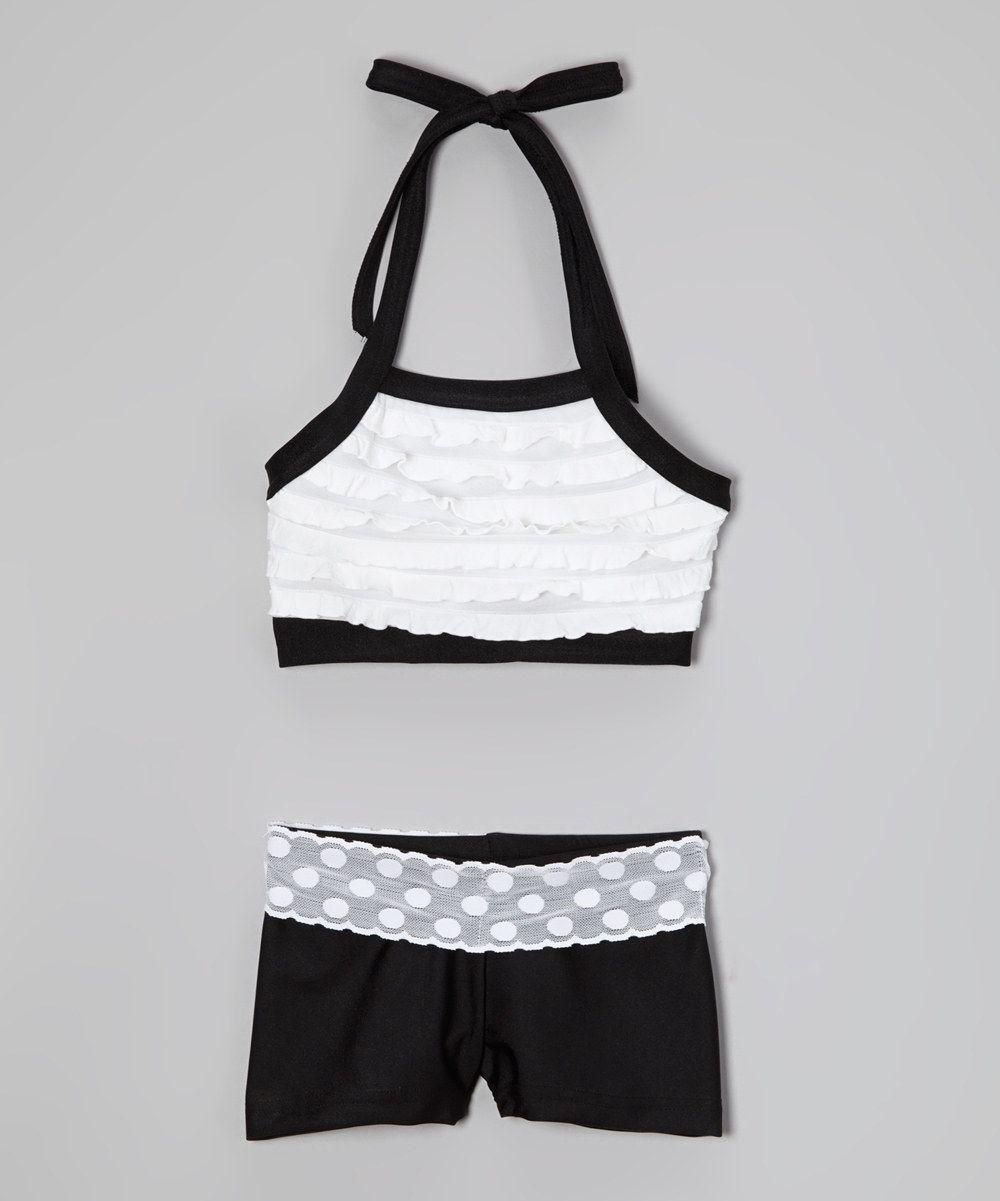 This Elliewear Cream Ruffle Halter Sports Bra & Black