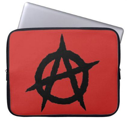 Anarchy symbol black punk music culture sign chaos laptop sleeve - diy cyo personalize special unique