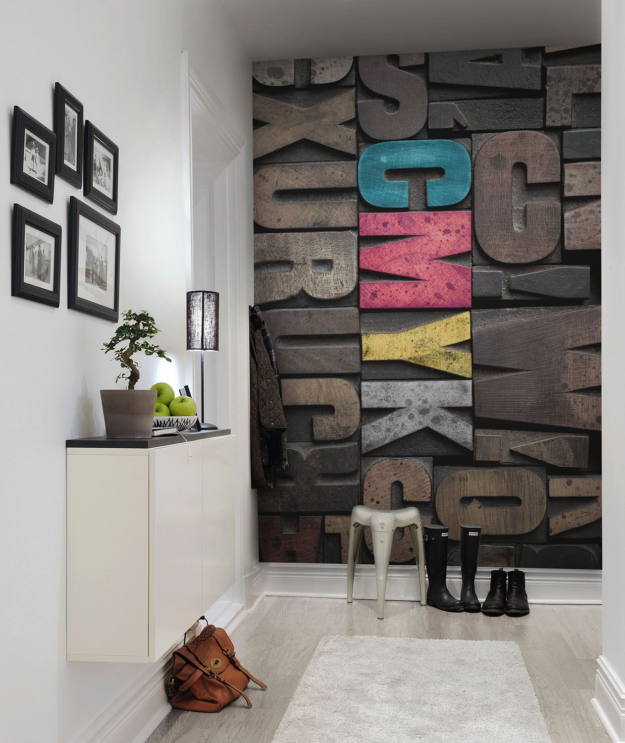 Product image for Wall mural Woodcut CMYK