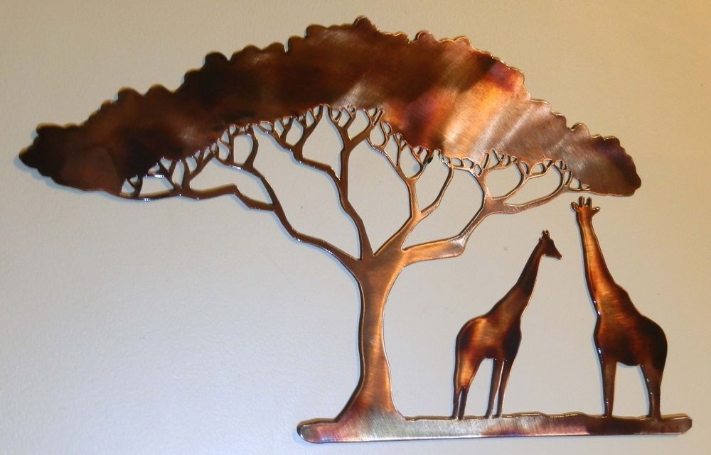 Giraffe Metal Art African Safari Wall Decor Made In Usa Metal Tree Wall Art Metal Art Metal Tree