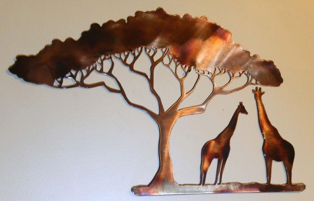 giraffe metal art african safari wall decor made in usa