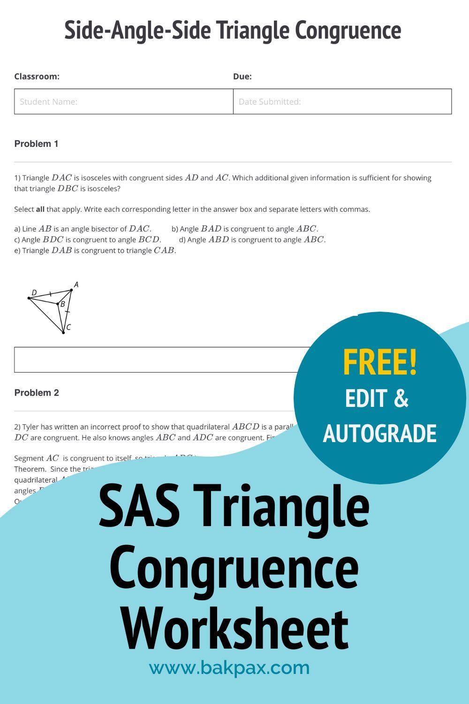 Free SideAngleSide Triangle Congruence Geometry