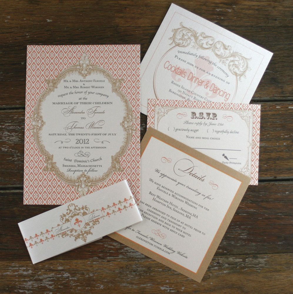 vintage wedding invitation text%0A French Baroque Wedding Invitation Vintage by Bdesignsinvitations