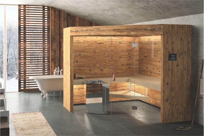 rustico sauna im chalet stil alpenchic altholz sauna design pinterest fitnessraum. Black Bedroom Furniture Sets. Home Design Ideas