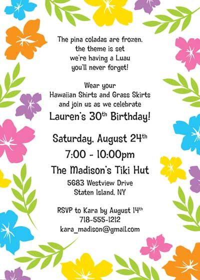 17 Best images about Hawaii 50 bday – Hawaiian Theme Party Invitations