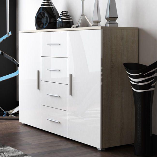 UNI chest of drawers – sonoma oak     White