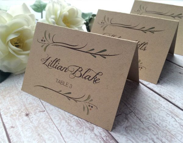 Rustic wedding place cards kraft wedding escort cards botanical country wedding name cards printed with names by sidestreetdesigns on etsy