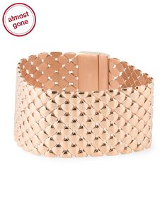 Made In Italy Rose Gold Plated Bronze Quilted Link Bracelet