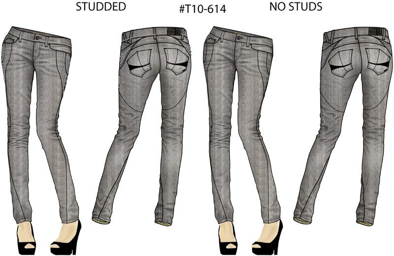 Non used womens denim jeans CAD sample design for a brand that never came to market