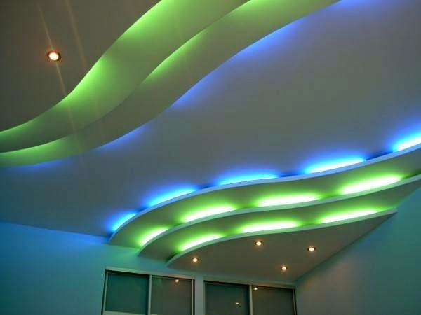 POP false ceiling design for hall, decorative ceiling LED lights ...