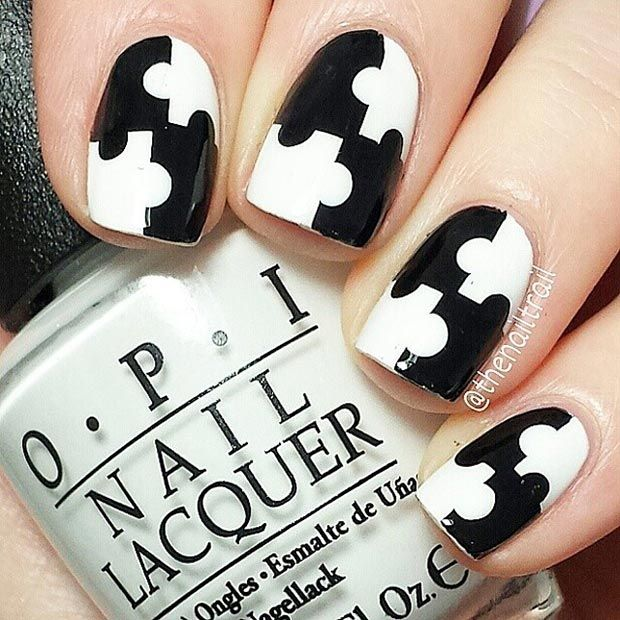 Black and White Puzzle Nail Design for Short Nails