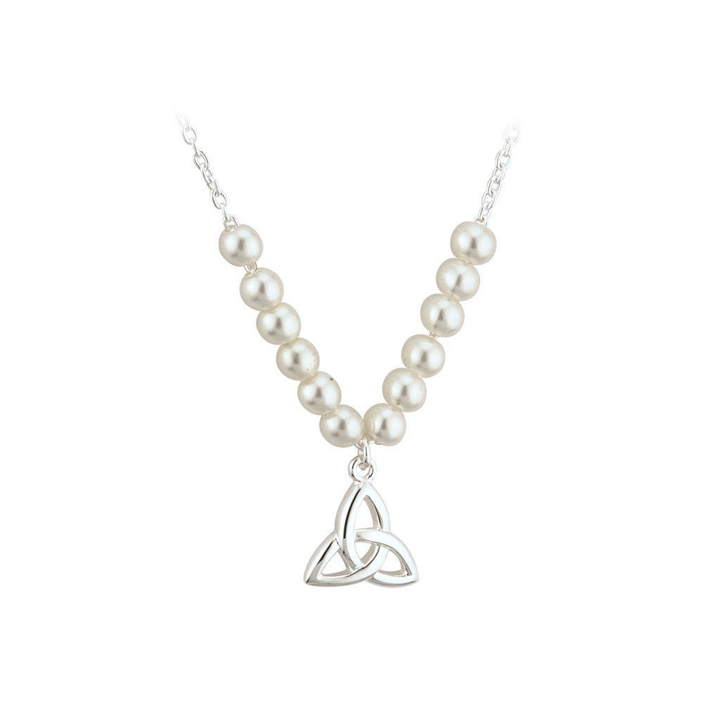 Trinity Knot Necklace Childrens Silver Plate Faux Pearl