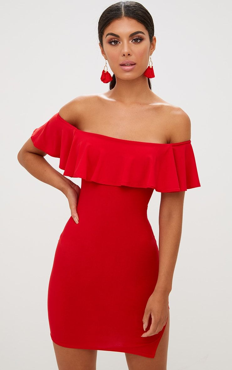 49dc483ac9d2 Red Bardot Frill Split Side Bodycon DressLook super sultry in this bodycon  dress - featuring a fi.