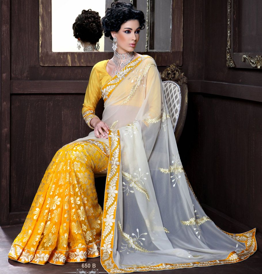 Wedding White Sarees Online: Sunflower Yellow And Off White Color Saree
