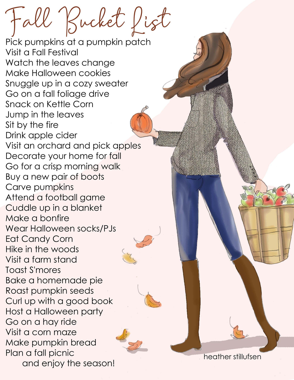 Items similar to Fall Bucket List - Printable - Heather Stillufsen Autumn - Bucket List on Etsy