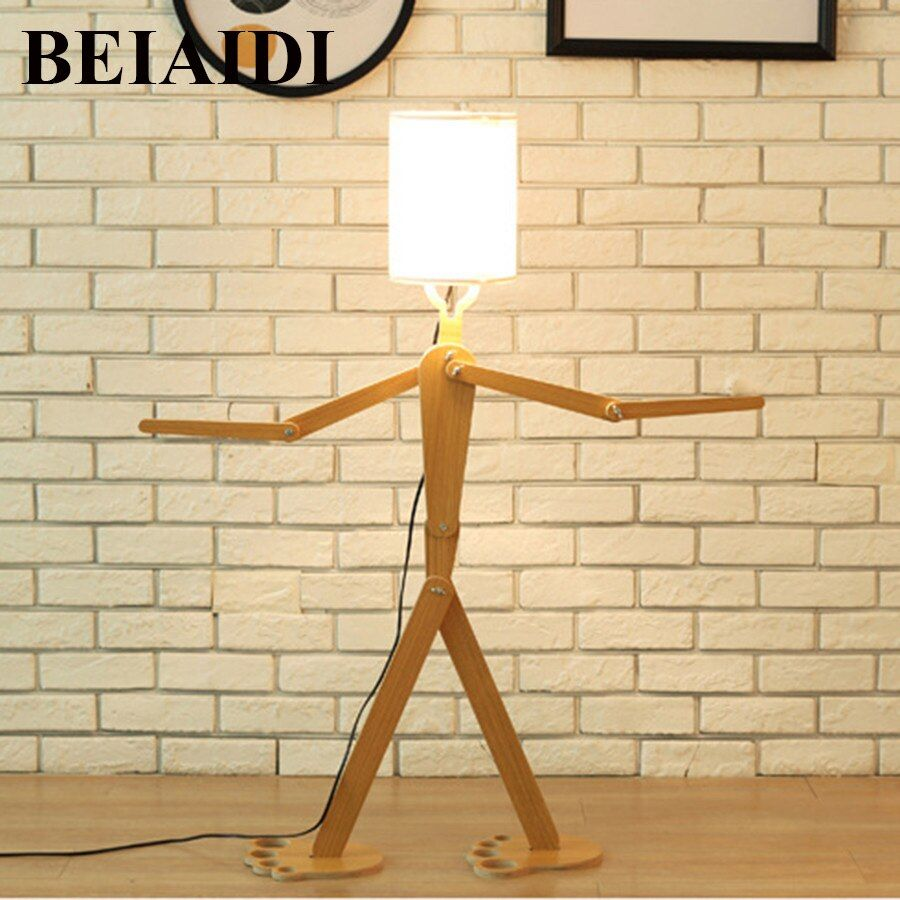 Beiaidi E27 1 1m Loft Robot Wooden Table Lamp Bedroom Diy Bedside Table Lamp With Cloth Lampshade With Images Wooden Table Lamps Table Lamps For Bedroom Table Reading Lamp