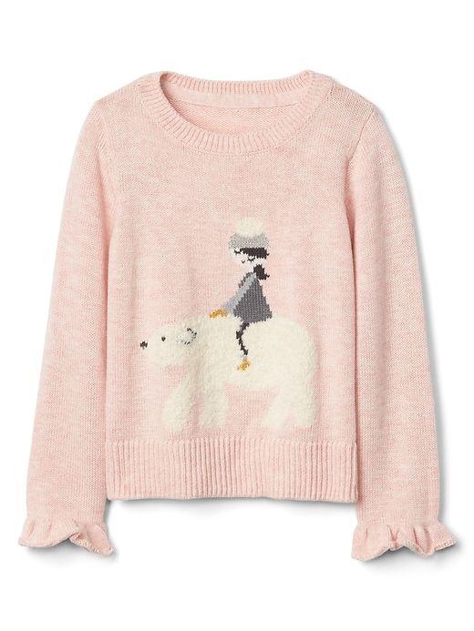 4e17684ff5da3 Gap Baby Polar Bear Ruffle Sweater Girl | Products | Girls sweaters ...