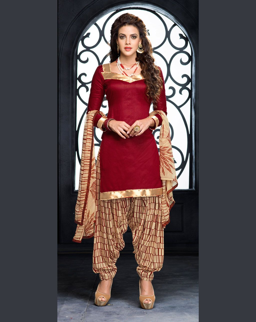 3ccb99237f Maroon Cotton Patiala Suit 70026 | Desi in 2019 | Patiala suit ...