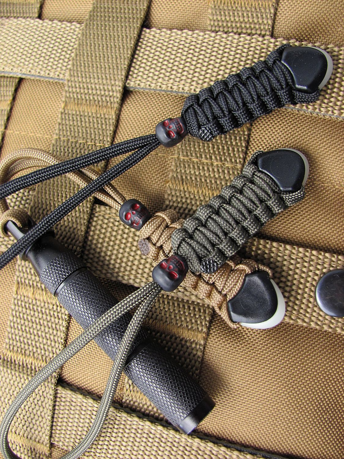 Tactical gear lanyards with black skull beads. Fit TAD by ZaneGear, $13.99