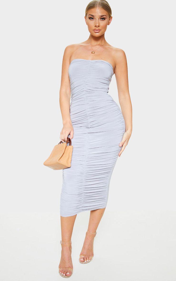Grey Extreme Ruched Bandeau Midi Dress Midi Dress Striped Midi Dress Dresses [ 1180 x 740 Pixel ]