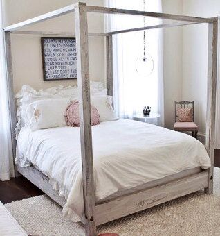 King Distressed Wooden Canopy Bed From Reclaimed By Sameasnever