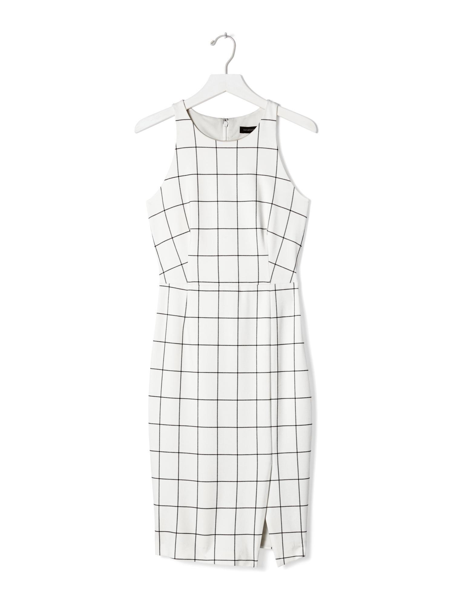 Windowpane Sleeveless Sheath Dress