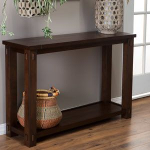 Slim Dark Wood Console Table