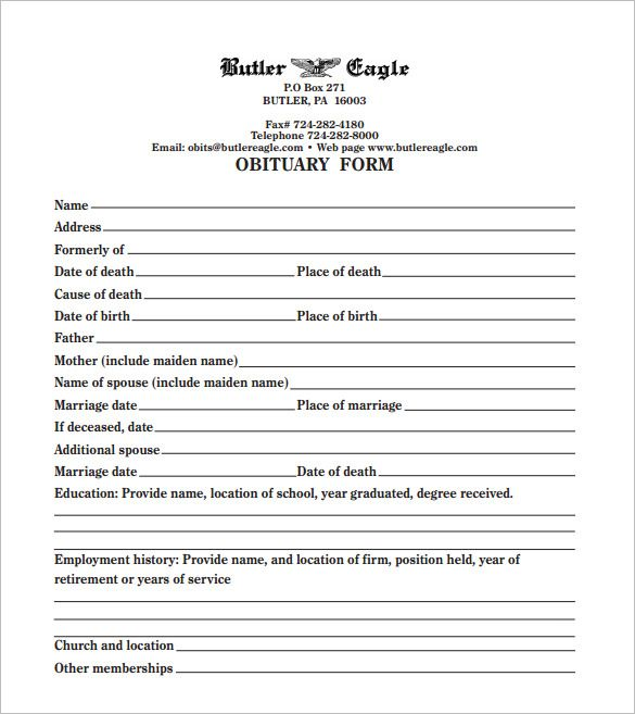 Printable Obituary Template  Funeral Obituary Template   Free