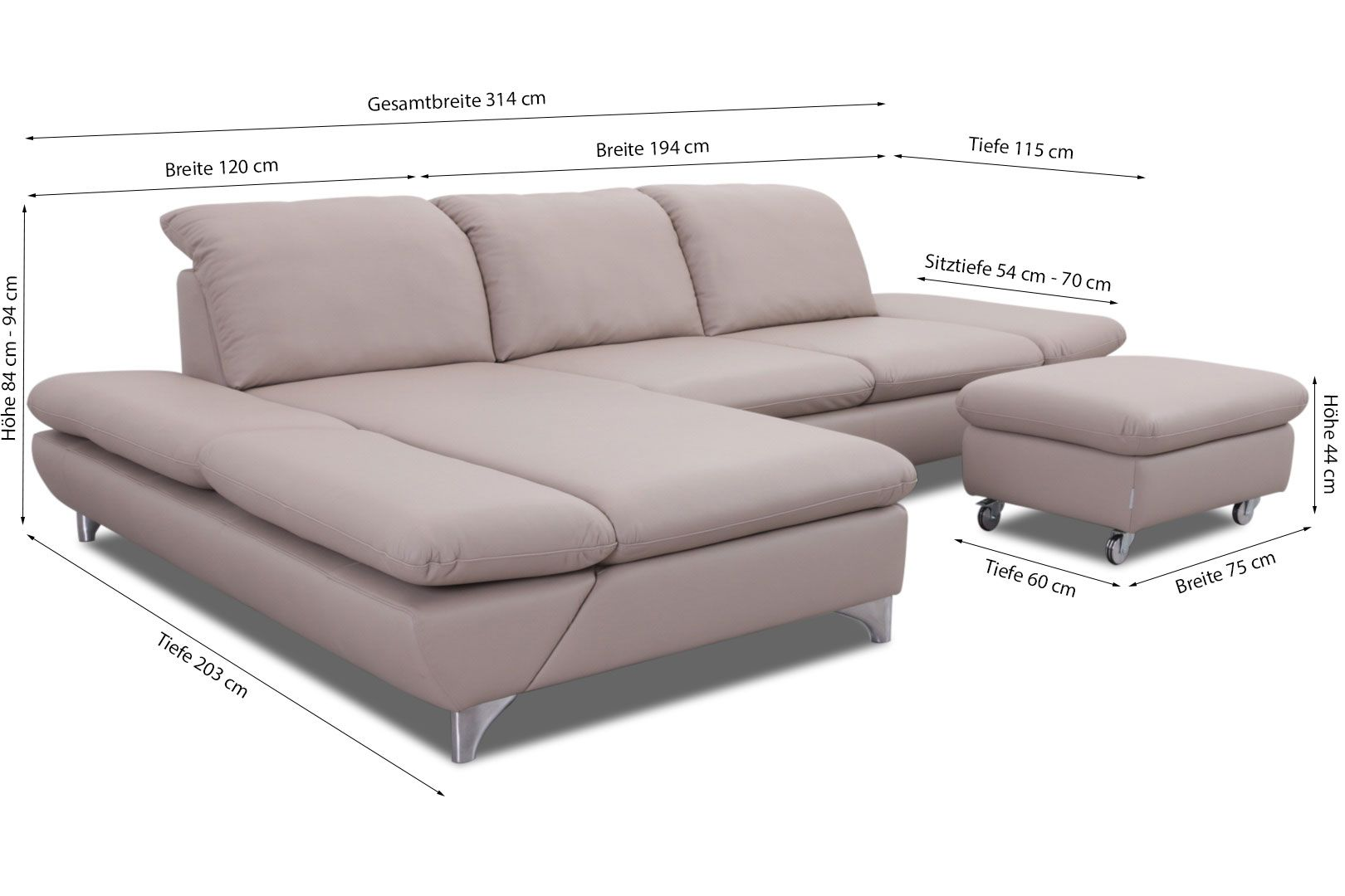 Chilliano Couch Leder Willi Schillig Ecksofa 15278 Taoo In Leder Z71 Stein
