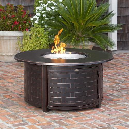 Fire Sense Perissa 48 Inch 50 000 Btu Propane Round Fire Pit Table Woven Cast Aluminum 62208 Round Fire Pit Table Gas Firepit Fire Pit Table