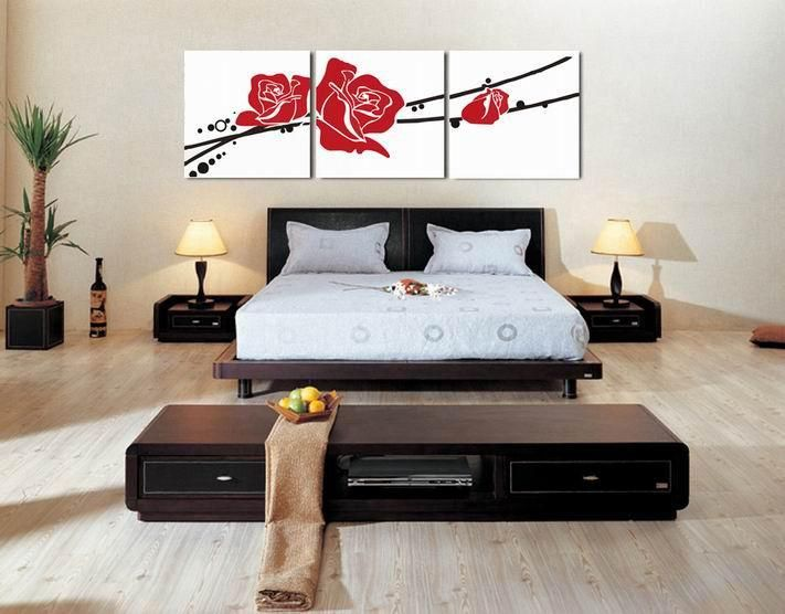 Decorative Paint Bedroom Wall Hanging Canvas Rose Picture Print Painting Pt628 S