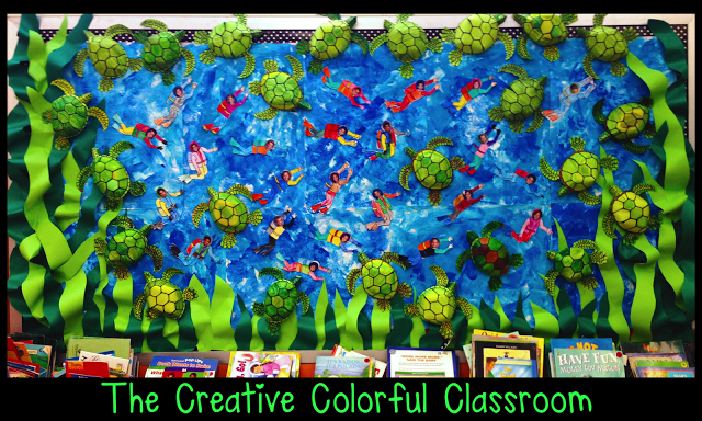 An awesome idea for an ocean themed classroom or habitat study!  This teacher used students' pictures as the divers!