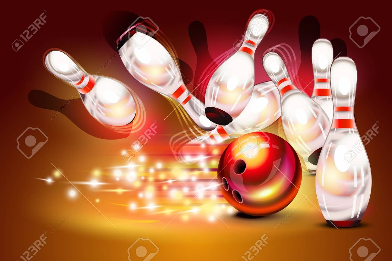 Bowling Game Strike Over Dark Red Background Red Bowling Ball Crashing Into The Pins Illustration Ad Dark Red Strike Bowlin Bowling Kreativ Basteln