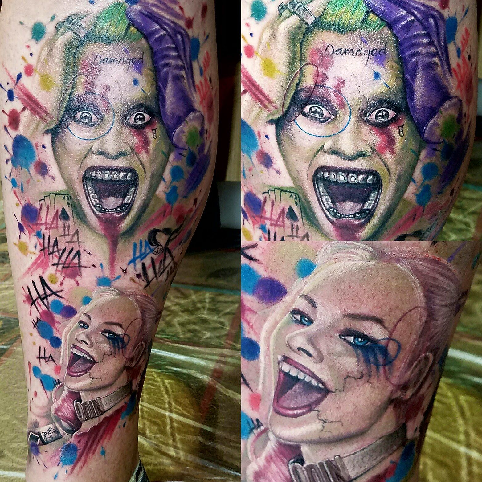 Joker And Harley Quinn Tattoo: Timelapse Of Joker/Harley Suicide Squad Tattoo By Jared