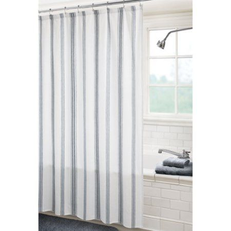 Canopy Fresh Stripe Shower Curtain Soft Silver And Gray Flannel
